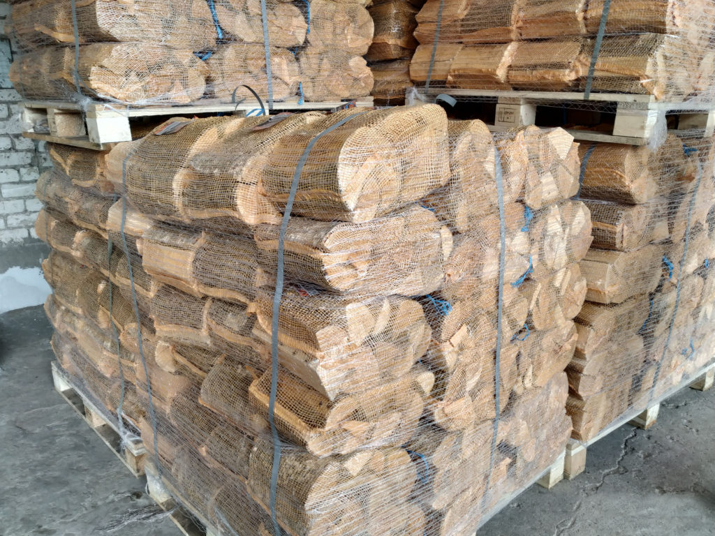 Firewood in nets or plastic bags